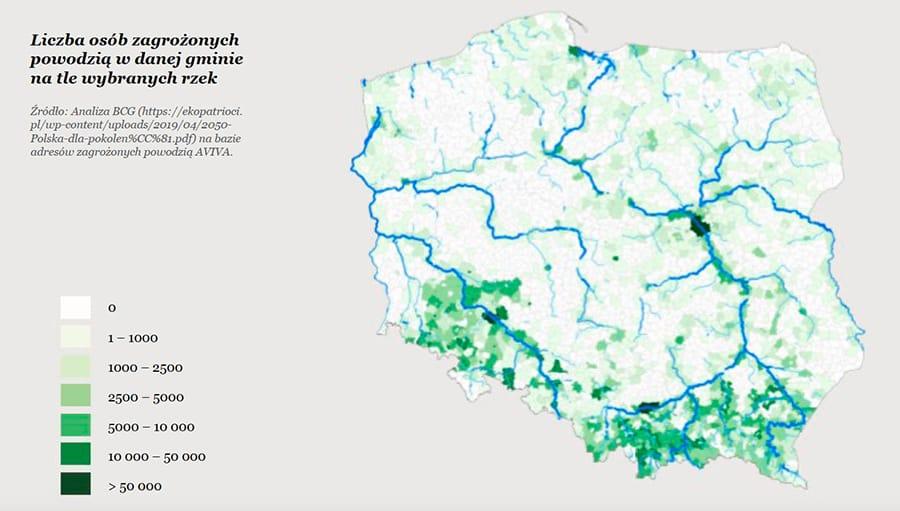 Ochrona przyrody a zmiany klimatyczne: Liczba osób zagrożonych powodzią - Jakie obszary Polski zagrożone są powodzią?