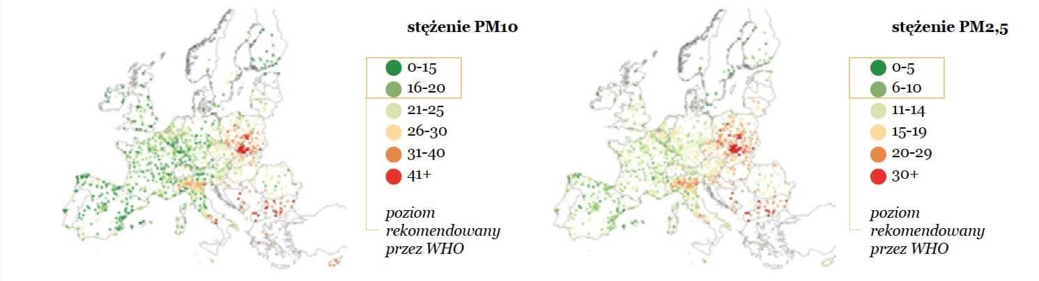 Ochrona przyrody a zmiany klimatyczne: Średnioroczne stężenie pyłów PM10 i PM2,5 w powietrzu w europejskich miastach